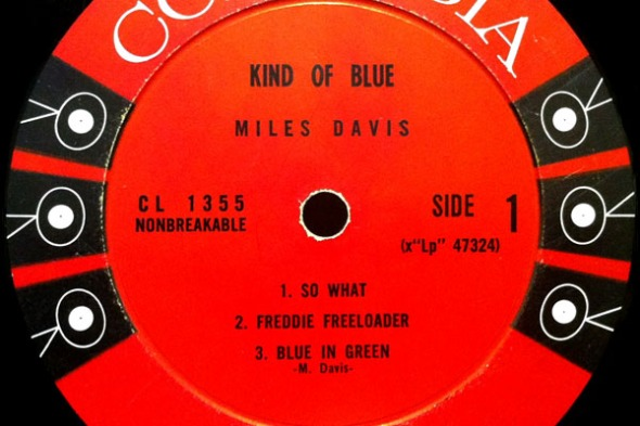 Miles Davis' vinyl record album released in 1959_Kind of Blue. The track Flamenco Sketches was on side 2.