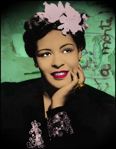 ZP_Billie Holiday_foto colorizada de la década 30_ Billie Holiday in a colourized black and white photo from the late 1930s