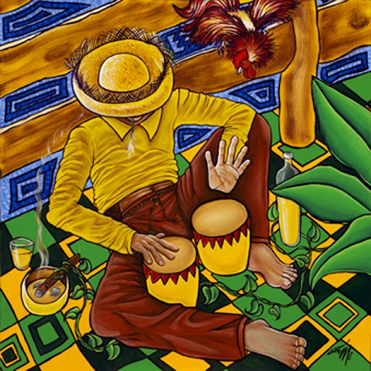 ZP_The Rooster Dances to My Bongo Beat_El Gallo Baila Con Mi Bongo_painting by_pintura de_George Rodez
