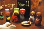 ZP_A toy Nativity scene made in Haiti_Jwaye Nwel is Merry Christmas  in Haitian Creole_Jwaye Nwel dice Feliz Navidad en el idioma criollohaitiano.