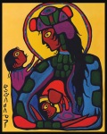 ZP_ᐅᓴᐘᐱᑯᐱᓀᓯ  Norval Morrisseau_Virgin Mary with Christ Child and St. John theBaptist_1973