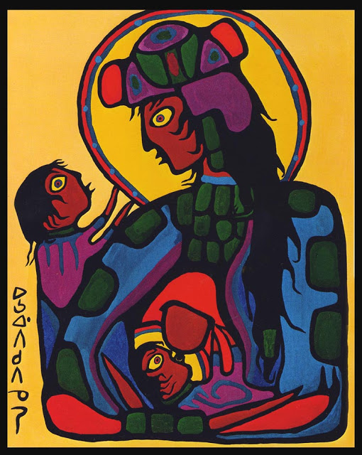 ZP_ᐅᓴᐘᐱᑯᐱᓀᓯ  Norval Morrisseau_Virgin Mary with Christ Child and St. John the Baptist, 1973