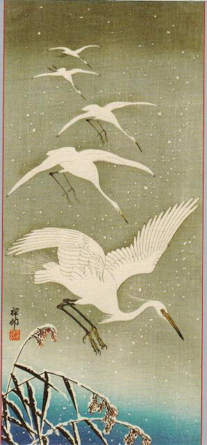 ZP_Five Egrets Descending in Snow_Japanese woodblock print by Ohara Koson,1878-1945