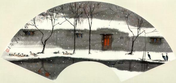 ZP_Snow scene_a fan-painting by Yang Ming-Yi