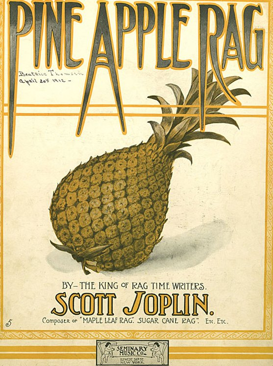 ZP_Scott Joplin, 1867 to 1917,  was one of a handful of ingenious musical synthesizers of the 1890s, blending John Philip Sousa style marches with African syncopation. His Maple Leaf Rag from 1899 was played on brothel and parlour pianos across the U.S.A._Sheet music for Pine Apple Rag, 1908.