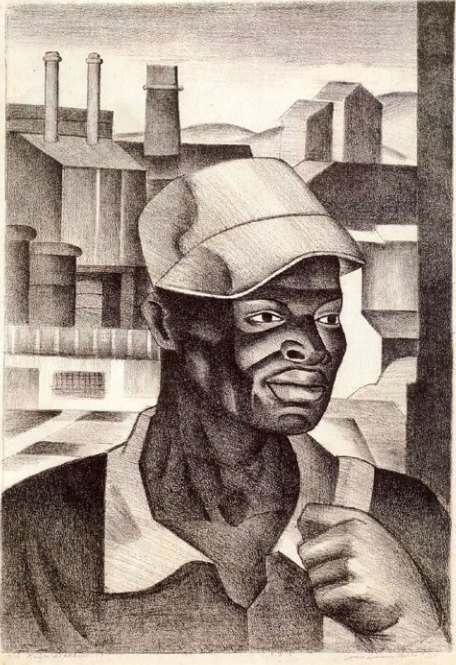ZP_Negro Worker_1938 lithograph by James Lescesne Wells