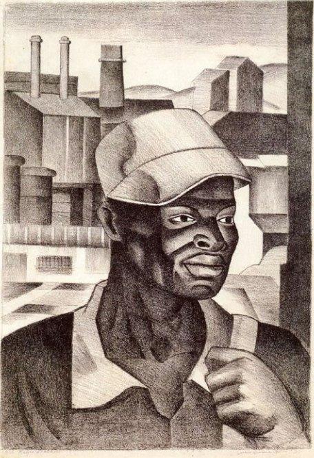 ZP_Negro Worker_1938 lithograph by James Lescesne Wells