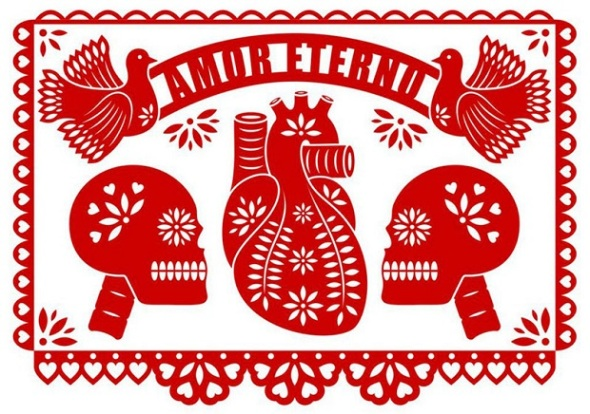 2013 Gringo hipster Valentine card made with papeles picados y tintos_ by Tasha Marks and Emily Evans