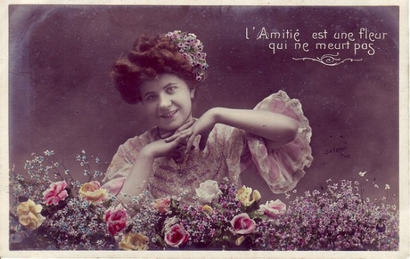 Vintage valentine_ French postcard,  early 20th century_Friendship is a flower that never dies.  Valentine cards were not ONLY about romantic love.  One gave them to children, parents, friends and teachers.
