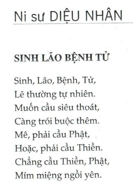 Buddhist nun Dieu Nhan_Birth, old age, sickness, death