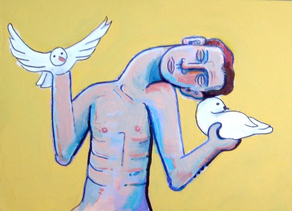 ZP_Untitled, Doves_painting by Skip Noah