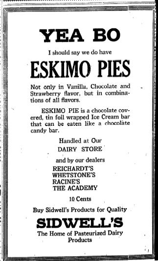 Eskimo Pies advertisement from 1921_Iowa, U.S.A.