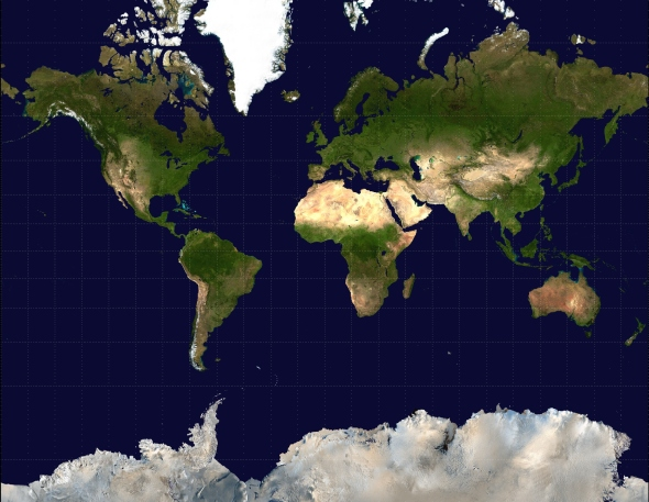 ZP_Mother Earth as seen by modern science (Mercator projection)