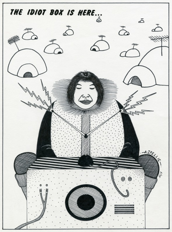ZP_The Idiot Box is Here_Illustration by Alootook Ipellie, 1975, for Inuit Today magazine