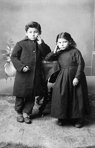Louis Riel's two children, Jean-Louis and Angelique, age 6 and 5_photographed at Steele and Wings studio in Winnipeg_around 1888