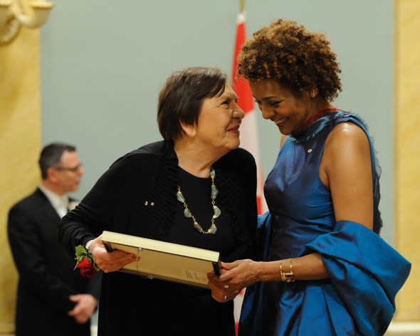 ZP_Rita Letendre receiving The Governor Generals Award in Visual and Media Arts from Governor General Michaelle Jean in 2010