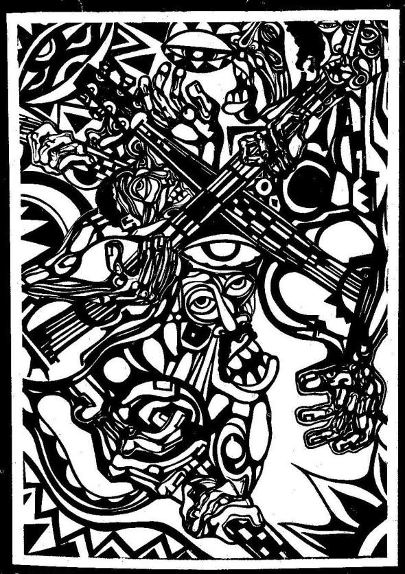 """Illustrações de José Craveirinha Junior., da segunda edição de """"Xigubo""""(1980, Edições 70)"""
