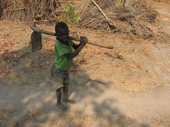 ZP_Garçonnet avec une binette_La Zambie_Little boy with hoe_Zambia_photograph copyright Boldt