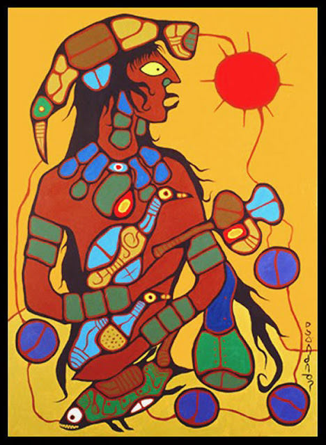 Norval Morrisseau_Man Changing into Thunderbird_1977_panel 1 of 6