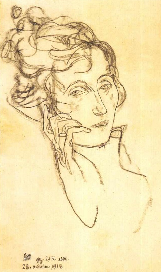 ZP_Egon Schiele_Edith  sterbend_Edith dying_October 28th 1918_the last drawing by Schiele