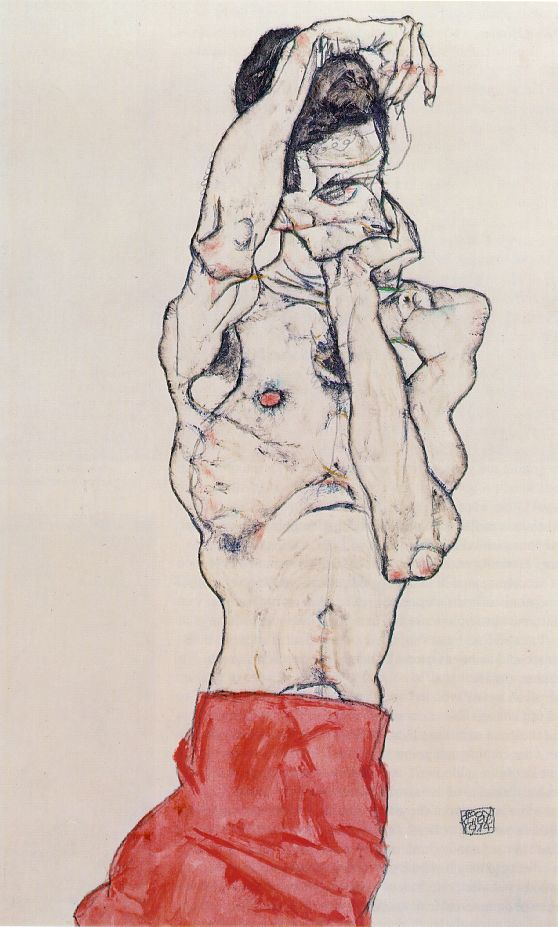 ZP_Egon Schiele_Male nude with a red loincloth_1914