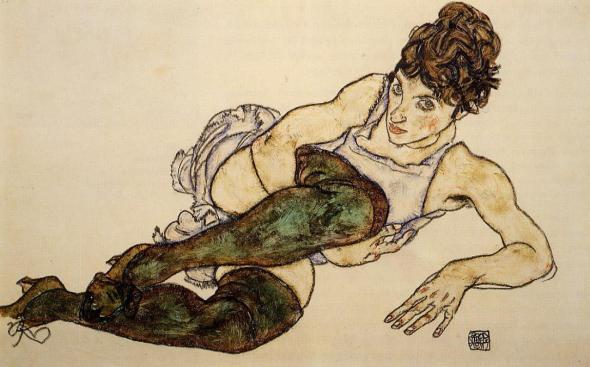 ZP_Egon Schiele_Reclining woman with green stockings_Adele Harms_1917