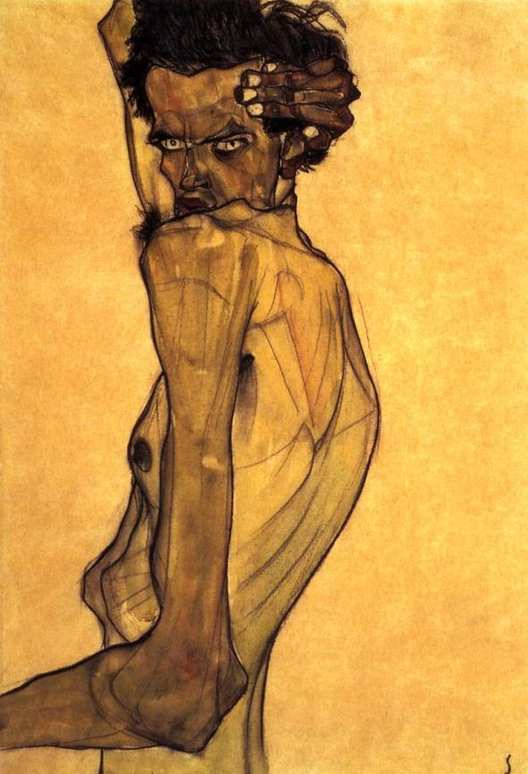 ZP_Egon Schiele_Selfportrait with arm twisted above head_1910