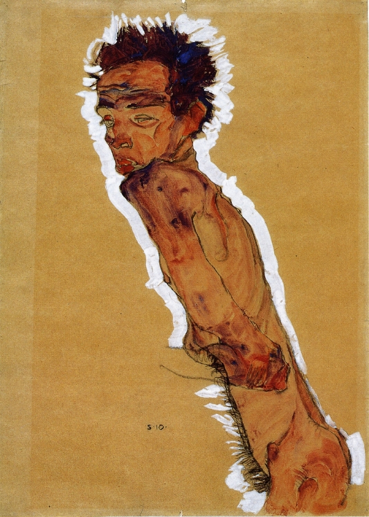 ZP_Egon Schiele_Selfportrait_Male nude in profile_facing left_1910