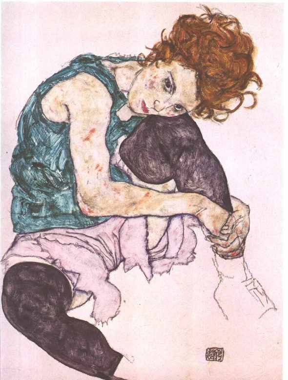 ZP_Egon Schiele_Sitzende frau mit hochgezogenem knie_The model was Wally Neuzil born 1894 died 1917_Neuzil was a former model for Klimt and she became a Shiele model muse and lover