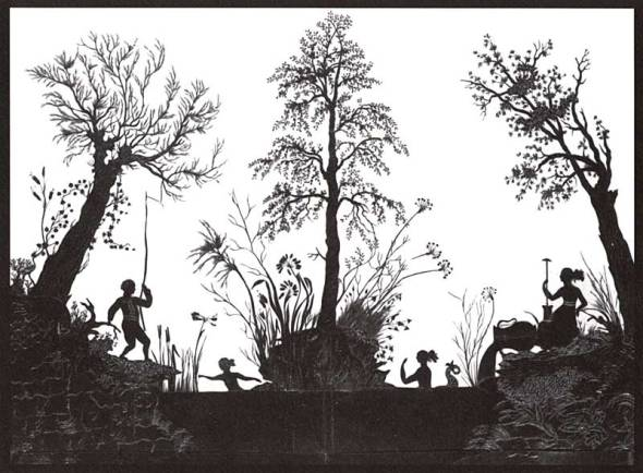 ZP_Rosa Maria Assing_Landschaft mit Quellgöttinnen_a silhouette scene_paper cutout_made by the poet in 1830