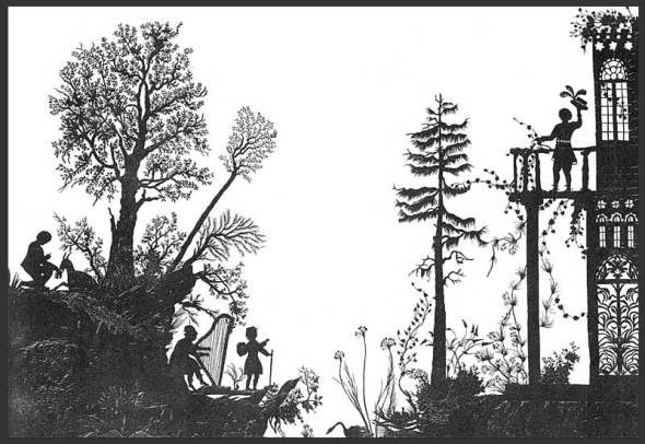 ZP_Rosa Maria Assing_Märchenlandschan mit Altan_a silhouette scene_paper cutout_made by the poet in 1830
