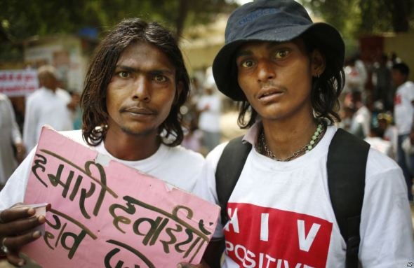 HIV-positive activists at a rally in India