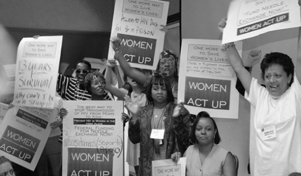 Members of ACT UP protest during a session of the National Conference on Women and HIV being held in Pasadena, California_1997_Associated Press photo