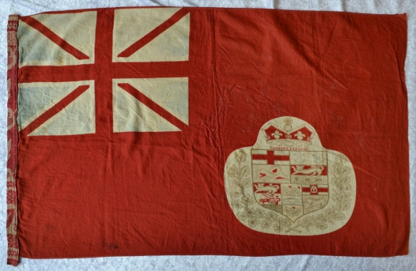 ZP_An old Canadian Red Ensign in its version from probably the 1870s_This flag was taken by a German soldier from a Canadian soldier at Dieppe during WWI.