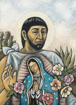 9 - 12 de diciembre, 1531_Juan Diego en Tepeyac con la tilma de maravillas