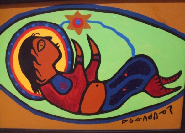 Norval Morrisseau_El Infante Jesús_Escena de Natividad_Detalle_The Infant Jesus_Nativity Scene_Detail_acrylic on canvas_1972