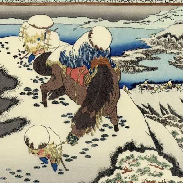 Viajeros en La Nieve por Hokusai, pintor y grabador japonés_1760-1849