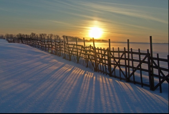 The sun setting in winter