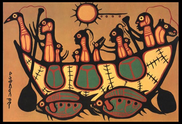 Norval Morrisseau_Desplazamiento_La Gran Inundación_Migration_The Great Flood_1973