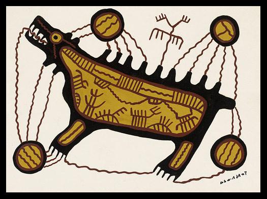Norval Morrisseau_Oso sagrado del Midawiin Ojibwa_Ojibwa Midawiin Sacred Bear_circa 1962
