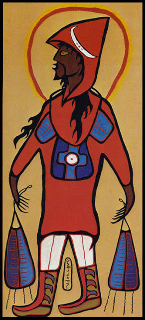 Norval Morrisseau_Retrato del Artista como el Jesucristo_Portrait of the Artist as Jesus Christ_1966