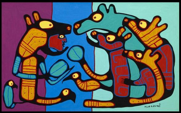 Norval Morrisseau_Transformación de un Chamán con Osos _Shaman Transforming with Bears_1986