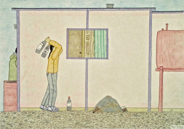 Annie Pootoogook_Memory of My Life_Breaking Bottles_ink and pencil crayon on paper_2002