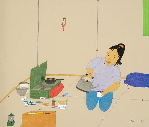 Annie Pootoogook_Woman Making Tea_wax crayon, graphite, felt- tip pen_2006