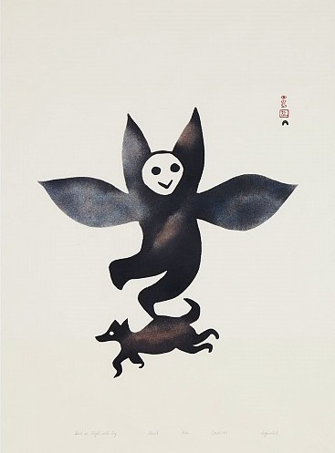 Eegyvudluk Pootoogook_Spirit in Flight with Dog_Stonecut_1961