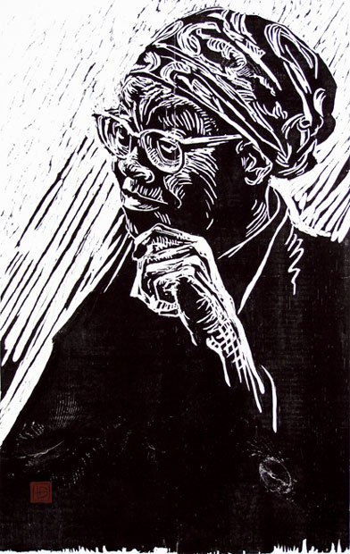 Gwendolyn Brooks woodcut from 2001 by Dirk Hagner