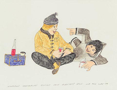 Kananginak Pootoogook_White man and Inuk_Drinking_1996