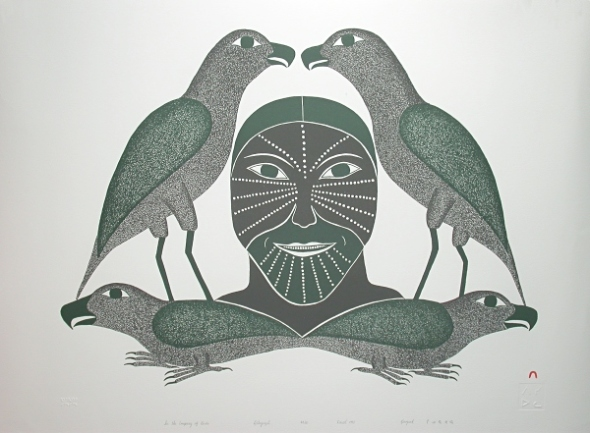 Kenojuak_In the company of birds_lithograph_1996
