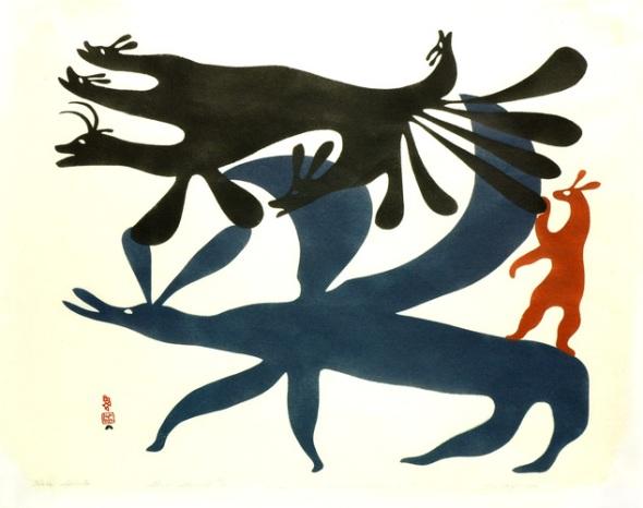 Kenojuak_Hare Spirits_sealskin stencil_1960