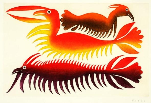 Kenojuak_Submerged Spirits_etching and aquatint_2002